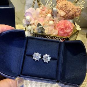 Women Sunflower Diamond Stud Earrings Wedding Party Earrings 925 Sterling Silver 3A Diamond Earrings Best Gifts Top Jewelry for