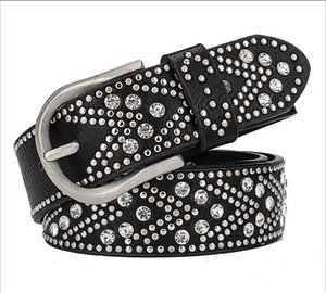 New style ladies belt fashion cool rivet rhinestone ladies belt high quality ladies pin buckle belt