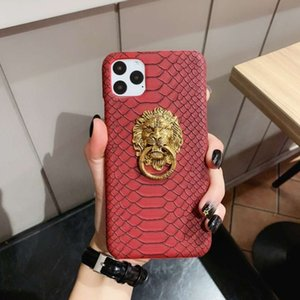 Luxury phone case lion 11 mobile head bracket hard shell 7plus protective cover anti slip snake pattern 6 applicable