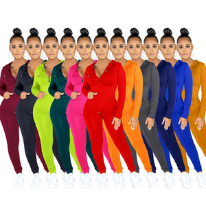 Autumn Women 2 Piece Set Fashion Solid Long Sleeve Zipper Cardigan Trousers Outfits Ladies Casual Multicolor Coat Pencil Pants Suits