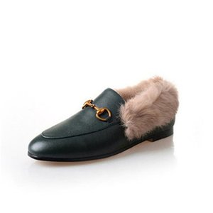 Mules Princetown Women Fur Slippers Mules with fur Flats Genuine Leather Designer Fashion Metal Chain Ladies Casual shoes d10