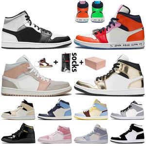 Con caja Mid White Shadow Jumpman 1 1s Zapatos de baloncesto Melody Sin miedo Milan Metallic Gold Digital Pink Twist Womens Trainers Zapatillas de deporte