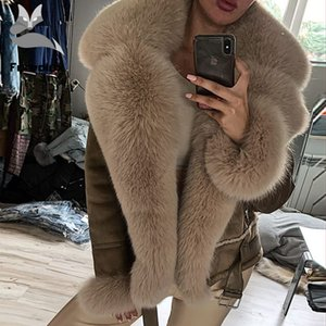 Wholeskin Koyun postu Sıcak Ceket Kaşmir Astar Gerçek Deri ceketler Natürel aşınması ile Furealux Gerçek Fox Coats