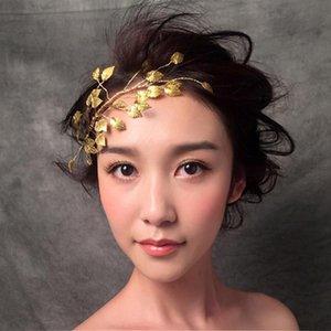 Ouro deixa acessórios de cabelos de casamento nupcial Bijoux de Tete Chaveux Noiva Banquete Frontlet Flower Hair Jóias Tiara 2021