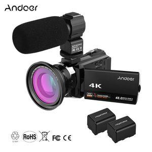 0.39X 광각 매크로 렌즈 외부 마이크 IR 적외선과 Andoer 4K 1080P 무선 디지털 비디오 카메라 캠코더 레코더