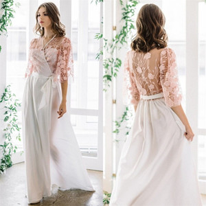 Floral Bridal Sleepwear Pink Blush V Neck Long Sleeves Appliqued Lace Sexy Sheer Soft Chiffon Custom Made Wedding Robe Nightgown Sweep Train
