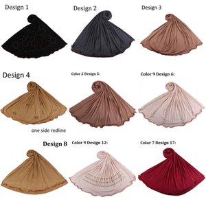 Mix Design-new arrival one side redline stretchy Jersey Hijab Scarf with diamonds for muslim women shawls 2020 netherlands