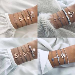FAMSHIN 5 Pcs set Boho Fashion Heart Map Geometric Beaded Tassel Rope Gold Bracelet Set Women Charm Party Wedding Jewelry Gifts1