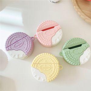 Lindas macarrones coloreados cookies de bocadillos inalámbricos Bluetooth Auriculares de silicona para AirPods 1 2 3 Pro Earphone Estuche protector para niñas Funda