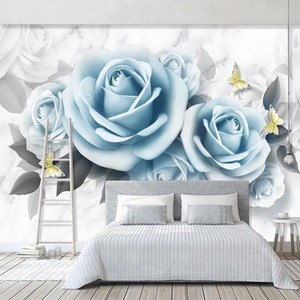 Custom Photo Wallpaper For Bedroom Walls 3D Blue Rose Flower Butterfly Modern Living Room Restaurant Decoration Wall Mural Paper