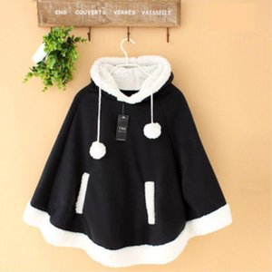 Japanese Kawaii Cloak Women Autumn Winter Hooded Poncho Cape Coat 2020 Girls Padded Cute Pullover Capes Femme Shawl