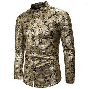 Shiny Gold Paisley Camisa Men 2020 Marca Nightclub Mandarin Collar Vestido Camisa Mens Party Bar Casamento Smoking Camisas Camisa Hombre1