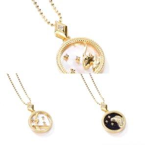 7ew8e коробка качества Золотой человек из нержавеющей стали S925 стальной колье ожерелье оболочки ожерелье цепи двенадцать созвездий серебряное высокое ожерелье византий