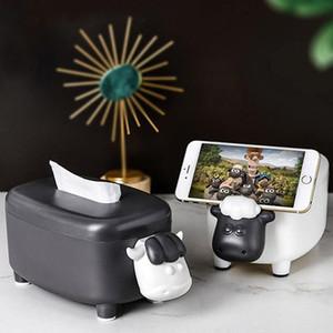 Cartoon tissu Boîte Pompage Essuyez papier Forme cas de vache Sheep Toothpick Box Tube Salon téléphone Chambre Porte-serviette Décoration