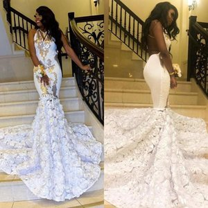 Chic V Neck Backless Black Girls Mermaid Prom Dresses Sequined Hand Made Flowers Sweep Train Cocktail Party Dresses
