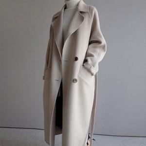 2021 new Winter Coat Womens Wide Lapel Belt Pocket Wool Blend Coat Oversize Long Trench Outwear Wool Overcoat