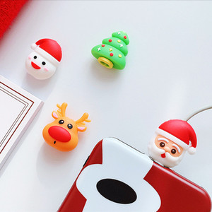Cute Cartoon Christmas Series Cable Bite Phone Charger Cable Protector Cord Data Line Cover Decorate Smartphone Wire Accessories DHL