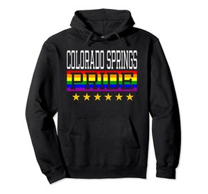 Colorado Springs Pride Gay Lesbian Queer LGBT Rainbow Flag Pullover Hoodie Unisex Size S-5XL with Color Black Grey Navy Royal Blue Dark Heat
