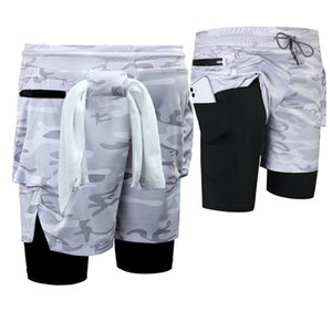 Men Joggers Shorts Mens 2 in 1 Short Pants Gyms Fitness Bodybuilding Workout Quick Dry Male Beach Shorts 20DK02 J0104