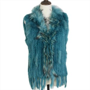 Free shipping womens natural real rabbit fur vest with raccoon fur collar waistcoat jackets rex rabbit knitted winte