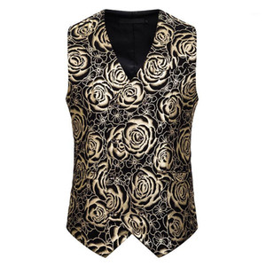 Mens Gold Rose Bronzing Vest Double Breasted V-Neck Wedding Suit Vests Men Gothic Aristocrat Steampunk Victorian Gilet Homme1