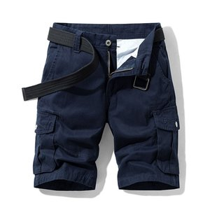 Summer Men's Baggy Multi Pocket Military Cargo Shorts Male Cotton Navy Mens Tactical Shorts Short Pants 30-38 No Belt Y200901