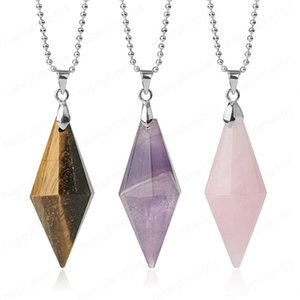Symmetry Cone Natural Stones Pendants Necklaces Multi Faceted Pyramid Healing Reiki Pink Quartz Crystal Female Jewelry