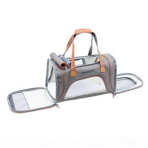 1Pc Soft Sided Pet Carrier Folded Mesh Dog Cat Tote Handbag Shoulder Crossbody Bag Nylon