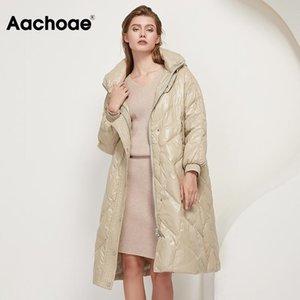 Aachoae Kış Aşağı Ceket Kaban Kadınlar Gevşek Kapşonlu Uzun Kalın Sıcak Coat Bayan Uzun Kollu Kabanlar Cepler Beyaz Ördek% 90