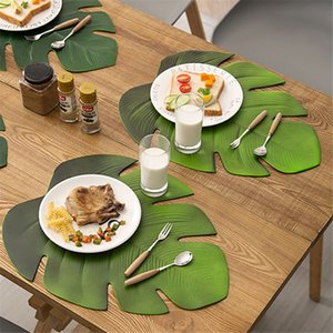 Turtle Leaf Placemat Artificial Green Plant Insulation Non-slip Tableware Home Western Anti-hot Plate Table Kitchen Decor Mats