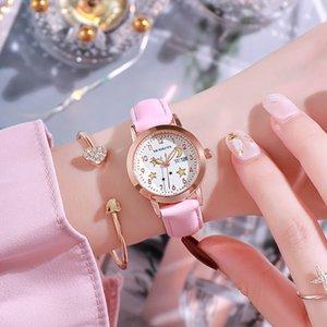 Ins Mädchen Herz leuchtende Korean weibliche wasserdichten Uhr-Version von einfachen Wald Junior High School Schüler Doppel Calendar Girls'