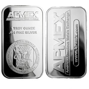 1 OZ APMEX Silver Plated Metal Bar Mint Bullion Bar Silver Coin for Home Collection Souvenir gifts
