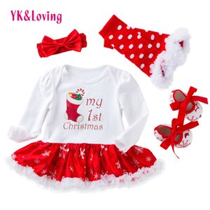 Weihnachten Baby Kleidung Schneeflocke Langarm Neugeborenen Strampler Kleid Baby Mädchen Kleidung 4 stücke Set 2021 Neujahrs-Säuglingskleidung Q0109