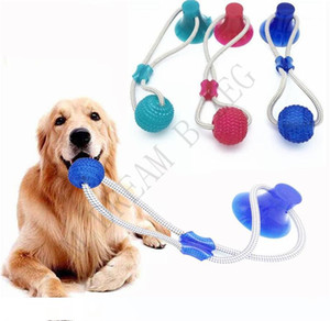 3 Colors Pet Molar Bite Toy Multifunction Dog Biting Toys Rubber Chew Ball Cleaning Teeth Safe Elasticity Soft Dental Care Suction Cup