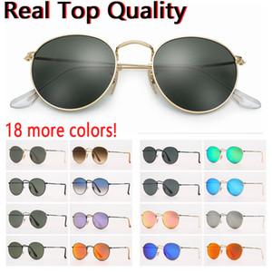 designer de óculos de sol Mulheres óculos de sol dos homens sunglsses redonda de metal verdadeiro UV lentes de vidro de proteção com caso de couro marrom ou preto, acessórios!
