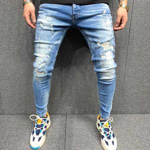 Nouveaux hommes déchirés Jeans Hommes Hommes Jeans Mode Mode Hommes Denim Jeans Slim Pantalons droits Trend Homme Pantalon