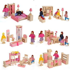 6 rooms children whole set wood pink furniture doll house toys  Kids girls birthday gifts of wooden kitchen bathroom bedroom toy LJ201126