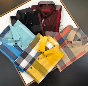 Männer Luxus Shirt Mode Bee bestickt lange Ärmel Kleid T-Shirt Marke klassische Revers Business-Hemd Größe M-3XL # 010