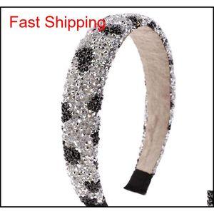 Retro Hair Hoop Natural Healing Crystal Stone Headband Sponge Leopard Print Woman Fashion Hair Band A jllVwT lottery2010