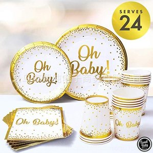 Nz4cc oh baby shower bebek kağıt bronzlama parti tema fincan Trayand trayand kağıt Forkand dekorasyon forkFork Parti Forkand 926Zb set