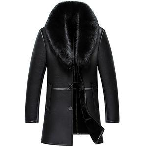 Alta calidad 2020 invierno nuevo hombres chaqueta de cuero genuino para hombre piel de piel de piel de piel masculino delgado negocio casual chaqueta larga ropa exterior Ropa interior rompevientos