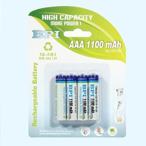 Size 7# Ni-MH Rechargeable Battery 1.2V AAA1100mAh milliampere Card Battery Long cycle life 4 Pcs 1 Lot