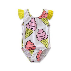 INS cute ice cream girls swimwear Summer Kids Swimwear girls swimsuits kids swimsuits girls bikini Kids Bathing Suits 2-6T B2270