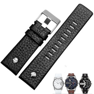 22mm 24mm 26mm 28mm Black Brown White Leather Strap For DZ DZ7257 DZ4318 watchband Wristband With