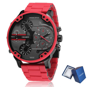 Cagarny 57mm 3D Big Dial Red Watch Men Luxury Silicone Steel Band Mens Wristwatch Casual Quartz Watch Military Relogio Masculino