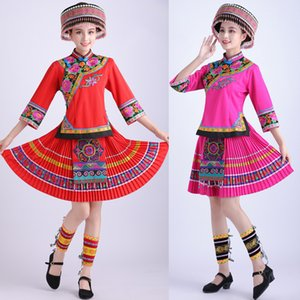 National costume female miao dance stage wear ethnic style embroidery short suits folk dance Hmong clothing adult