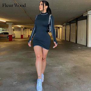 Fleur Wood Mujer Vestido Mini Mini Manga Larga Vestido Deporte Turtleneck Spring Bodycon Primavera Otoño Casual Streetwear ActiveWear