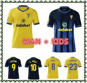 2021 CADIZ Fussball Jerseys Cadiz CF Camisetas de Futbol 20 21 Lozano Alex Bodiger Juan Cala Camiseta A Liga Men + Kinder Fußballhemden