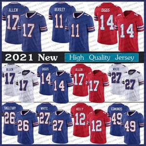 Buf Men's 17 Josh Allen Jersey 14 Stefon Diggs 27 Tre'Wious White Oliver Tremaine Edmunds 11 Cole Beasley Devin Singletary Jim Kelly From