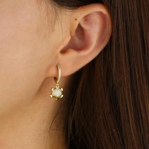 Золотой цвет ясно искрение кубического циркония крошечные мило очарование черепа CZ череп скелета очарование серьги обруча